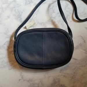 Leather Loft Genuine Crossbody Bag Purse Navy Blue